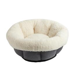 Gray Faux Suede Pet Bed