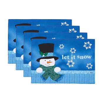 """Let it Snow"" Blue Snowman Placemats, Set of 4 view 1"