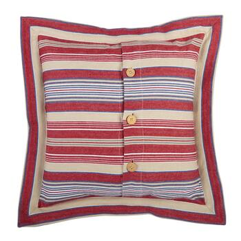 Nautical Stripes 3-Button Square Throw Pillow