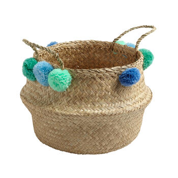 "15.25"" Large Pom-Poms Seagrass Storage Basket view 1"