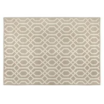 6.6'x9.5' Beige Geometric Swirls Area Rug view 1