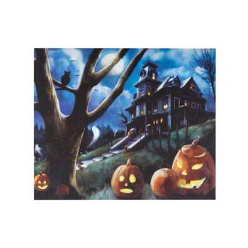 "20""x24"" Moonlit Haunted House LED Canvas Wall Art"