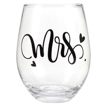 """Mr. & Mrs."" Farmhouse Stemless Wine Glas view 1"