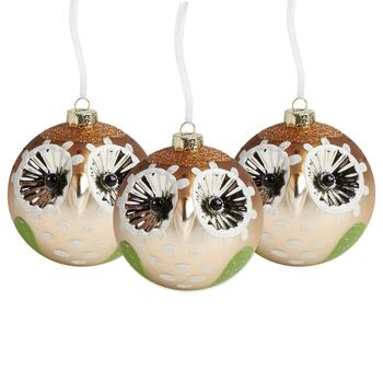 "4"" Glass Speckled Owl Ornaments, Set of 3"