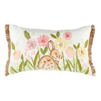 Bunny in the Garden Oblong Throw Pillow with Fringe view 1