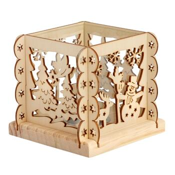 "4.25"" Woodland Snowman Cutout Wooden Tealight Holder"