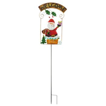 "42"" Santa Welcome Glass Lawn Stake"