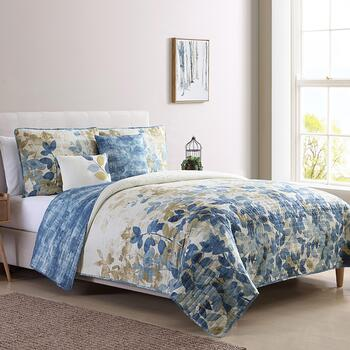 Ana Blue Leaves Reversible Quilt Set, 5-Piece