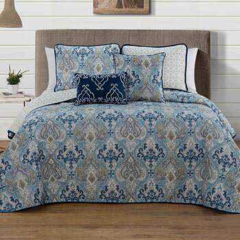 Marlow Teal Paisley Reversible Quilt Set, 5-Piece