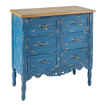 Blue Distressed 6-Drawer Cabinet