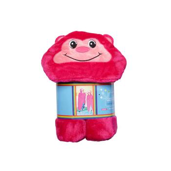 Pink Velvet Monkey Animal Hoody Blanket