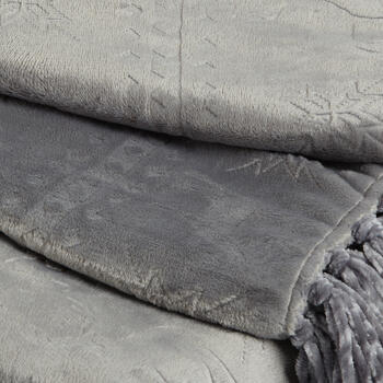 Deer Embossed Throw Blanket with Fringe view 2
