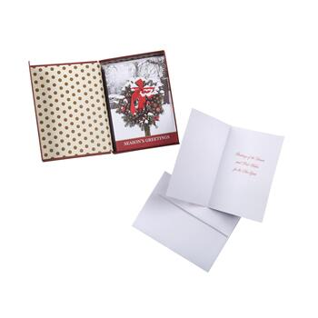 """Season's Greetings"" Snowy Wreath Boxed Holiday Cards, 18-Count"