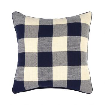 The Grainhouse™ Blue/Ivory Plaid Square Throw Pillow