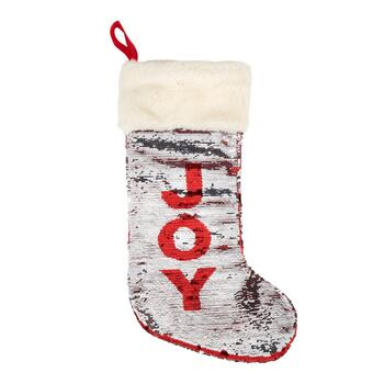 """Joy"" Red/Silver Sequined Stocking"