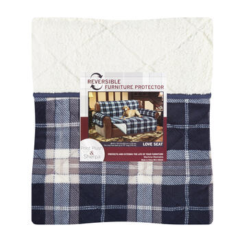 Lodge Plaid/Sherpa Reversible Loveseat Cover view 1