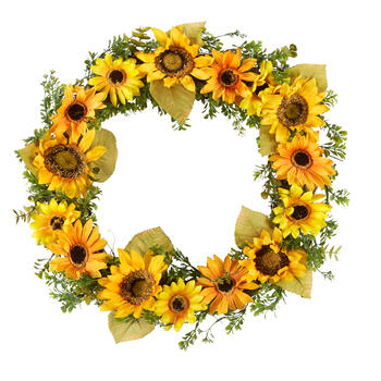 "21"" Sunflower Boxwood Artificial Wreath view 1"