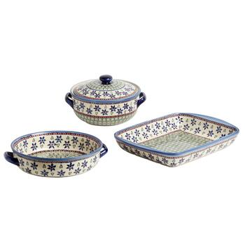 Polish Potery Ferns and Flowers Serveware