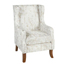 Textured Beige Upholstered Wing Arm Chair view 1