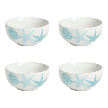 Turquoise Coastal Starfish Soup Bowls, Set of 4 view 1