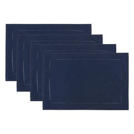 "14.25""x20.25"" Solid Hemstitch Cotton Placemats, Set of 4"