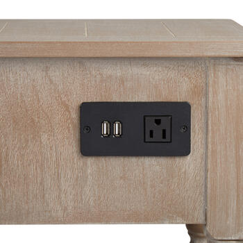Antique Accent Table with USB Charging Ports view 2