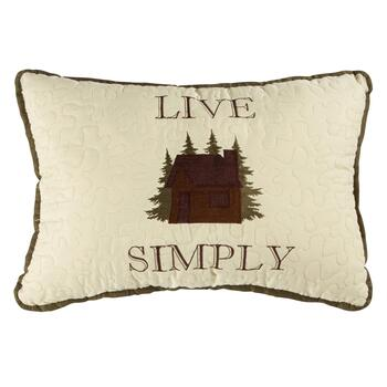 """Live Simply"" Embroidered Oblong Throw Pillow"