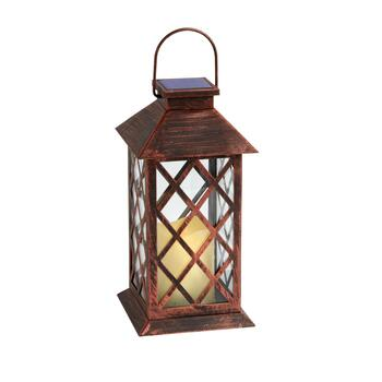 "11"" Copper Diamond Metal Solar Candle Lantern"