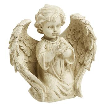 "10"" Kneeling Child Garden Angel with Bird"