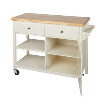 Cream 2-Drawer/1-Door Rolling Kitchen Island view 2