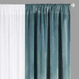 Velvet/Sheer Rod Pocket Window Curtains, Set of 4