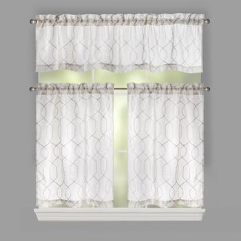 Gatework Embroidered Window Tier & Valance Set