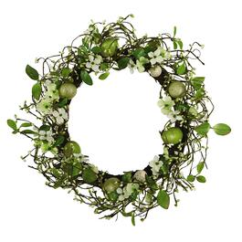 Green Flowers and Speckled Eggs Wreath
