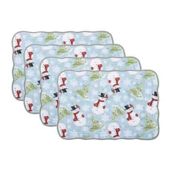 Snowman & Christmas Tree Quilted Placemats, Set of 4 view 1