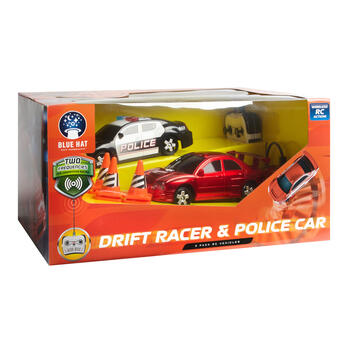 Remote Control Drift Racer and Police Car Play Set, 2-Pack view 2