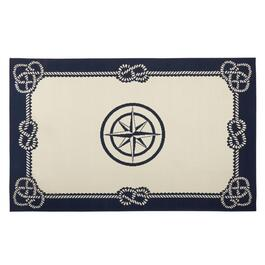 Navy Blue Compass Rope Border All-Weather Rug