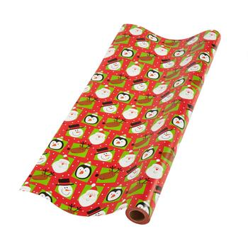 Penguin, Santa and Reindeer Gift Wrapping Paper Roll