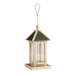 "13"" Asphalt Roof Wood Birdfeeder view 1"
