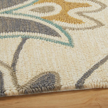 Teal/Gray Floral All-Weather Hand-Hooked Rug view 2