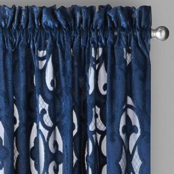 Cut Velvet Textured Window Curtains, Set of 2