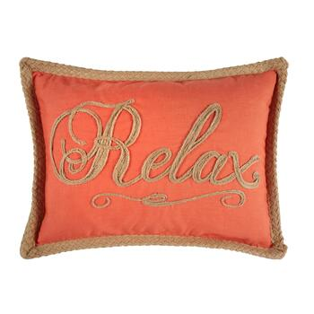 """Relax"" Coral Oblong Throw Pillow"