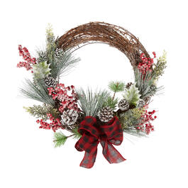 "24"" Snowy Berry Twig Wreath with Plaid Bow view 1"