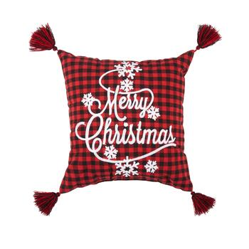 """Merry Christmas"" Plaid Snowflake Tassel Square Throw Pillow"