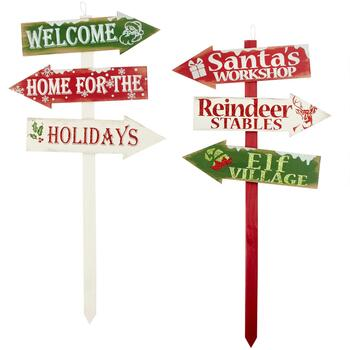 "35"" ""Welcome"" and ""Santa's Workshop"" Wood Yard Stakes, Set of 2"