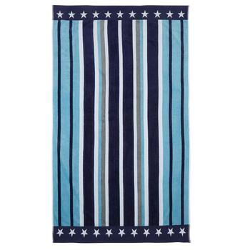 "40""x70"" Blue/White/Gray Stars and Stripes Oversized Cotton Beach Towel"