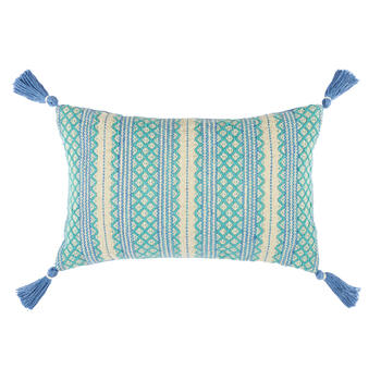 Aqua/Periwinkle Woven Indoor/Outdoor Throw Pillow with Tassels view 1