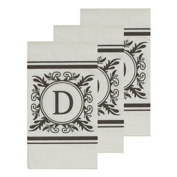"3-Pack Monogram ""D"" Guest Towels, 45-Count"