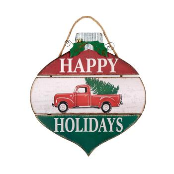 "18"" ""Happy Holidays"" Ornament Wood Wall Hanger"