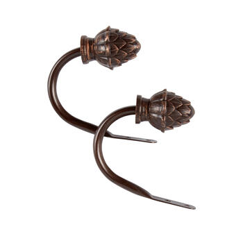 Bronzed Pinecone Curtain Holdbacks, Set of 2 view 1