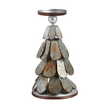 "11"" Metal Scales Tree Pillar Candle Holder"